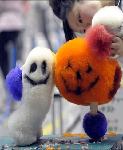 Thí sinh này lại được thiết kế bộ lông theo chủ đề Halloween với hình quả bí ngô và con ma.