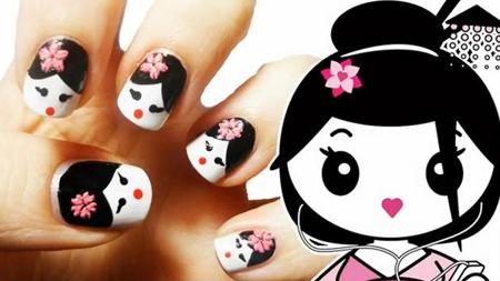 Vẽ móng tay búp bê Geisha