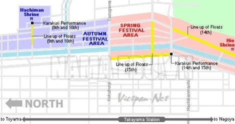 Bản đồ lễ hội Takayama: