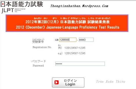 Tra cứu kết quả thi năng lực Tiếng Nhật Tháng 12/1012 Online